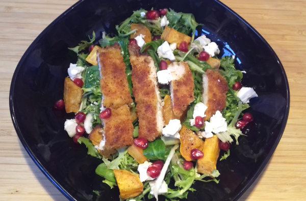 édesburgonya saláta fetával csirkemellel